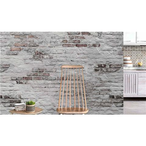 Grandeco One Roll Wall Mural Bricks EP6102 grey