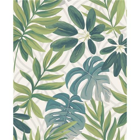 A STREET PRINTS moonlight WALLPAPER Nocturnum palm leaf 2763-24200 white