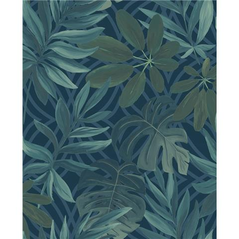 A STREET PRINTS moonlight WALLPAPER Nocturnum palm leaf 2763-24201 blue