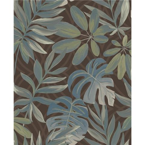 A STREET PRINTS moonlight WALLPAPER Nocturnum palm leaf 2763-24202 brown
