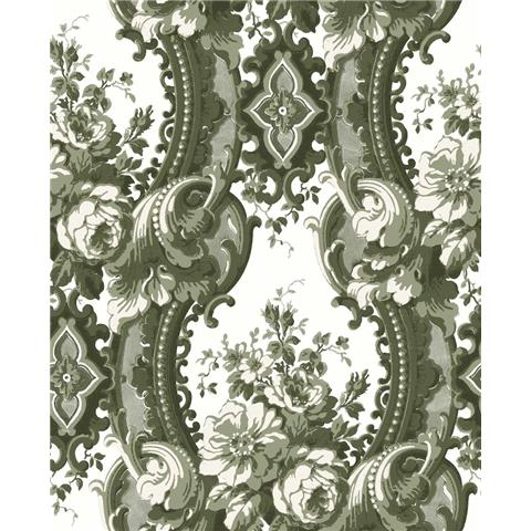 A Street Prints moonlight Wallpaper Dreamer Luxury Damask FD24215 Green