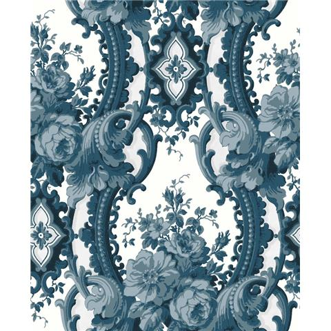 A Street Prints moonlight Wallpaper Dreamer Luxury Damask FD24216 Blue