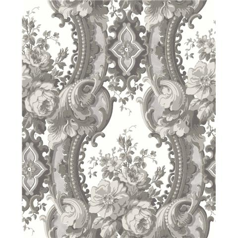 A Street Prints moonlight Wallpaper Dreamer Luxury Damask FD24217 Grey