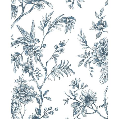 A STREET PRINTS moonlight WALLPAPER Jessamine floral 2763-24235 blue