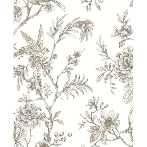 A STREET PRINTS moonlight WALLPAPER Jessamine floral 2763-24236 taupe