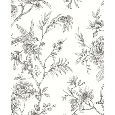 A STREET PRINTS moonlight WALLPAPER Jessamine floral 2763-24237 grey