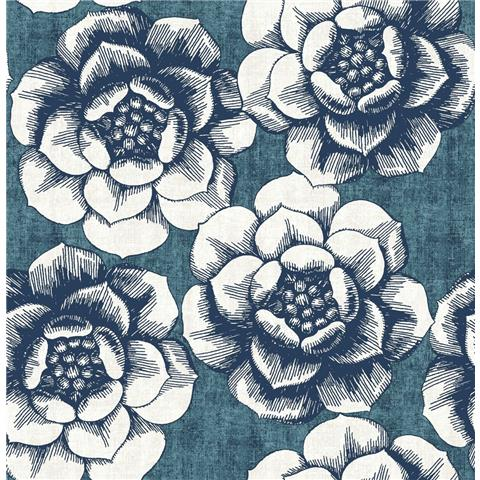 A STREET PRINTS moonlight WALLPAPER Fanciful large floral 2763-24238 blue