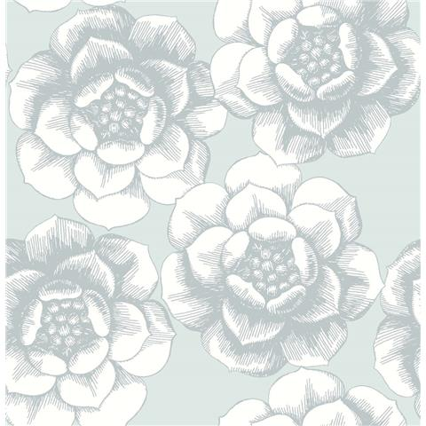 A STREET PRINTS moonlight WALLPAPER Fanciful large floral 2763-24240 grey