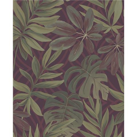 A STREET PRINTS moonlight WALLPAPER Nocturnum palm leaf 2763-24243 red