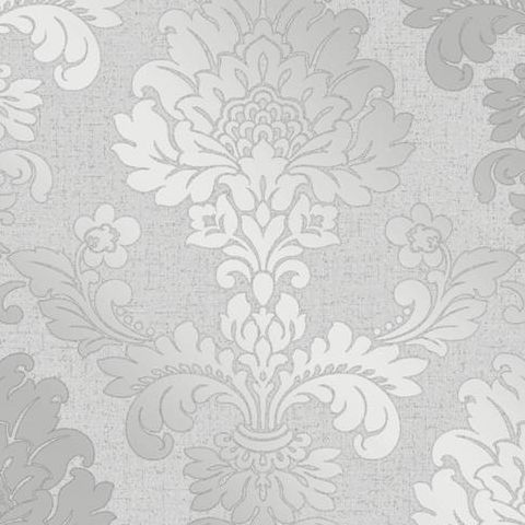 Fine Decor Blown Vinyl Wallpaper Damask FD41965 Silver