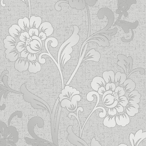 Fine Decor Blown Vinyl Wallpaper Floral FD41966 Silver