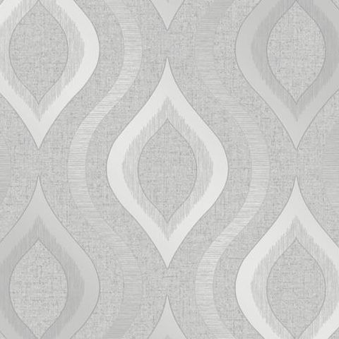 Fine Decor Blown Vinyl Wallpaper Ogee FD41968 Silver
