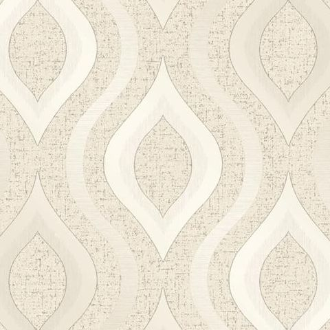 Fine Decor Blown Vinyl Wallpaper Ogee FD41973 Cream/Gold