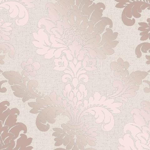 Fine Decor Blown Vinyl Wallpaper Damask FD42204 Rose Gold
