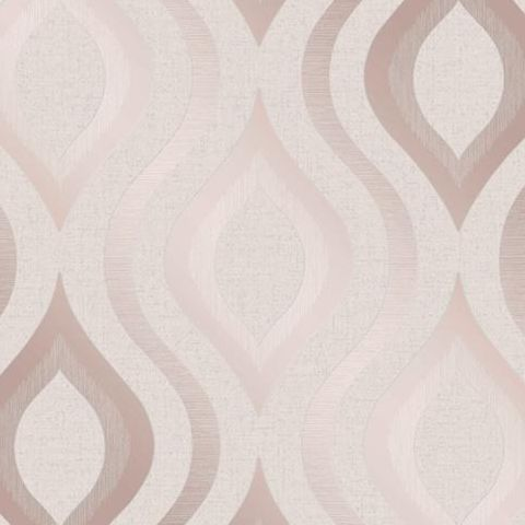 Fine Decor Blown Vinyl Wallpaper Ogee FD42206 Rose Gold