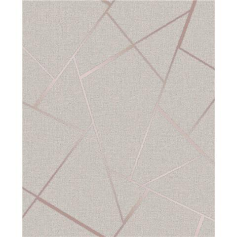Fine Decor Quartz Fractal geometric wallpaper FD42282 rose gold