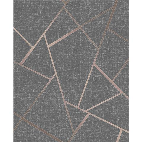 Fine Decor Quartz Fractal geometric wallpaper FD42283 charcoal/copper