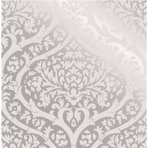 Fine Decor sandringham damask wallpaper silver 42529