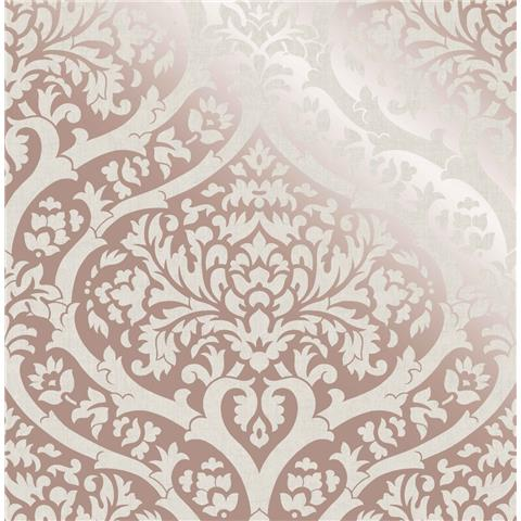 Fine Decor sandringham damask wallpaper rose gold 42533