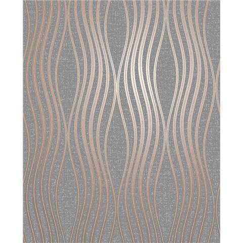 Fine Decor Quartz wave geometric wallpaper FD42568 copper