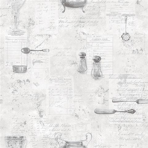 Kitchen Recipes Vinyl Wallpaper Table Service G12293