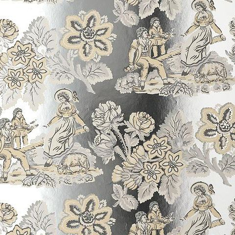 Anna French Wild Flora Girl on a See Saw Wallpaper-White/Foil