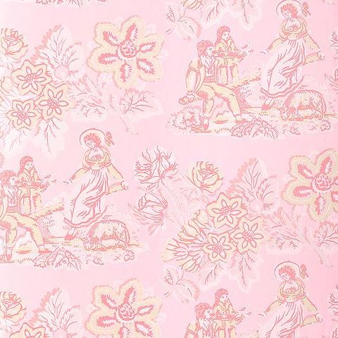 Anna French Wild Flora Girl on a See Saw Wallpaper-Pink