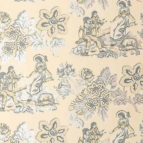 Anna French Wild Flora Girl on a See Saw Wallpaper-Cream