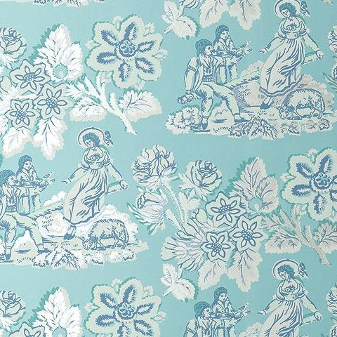 Anna French Wild Flora Girl on a See Saw Wallpaper-Turqoise