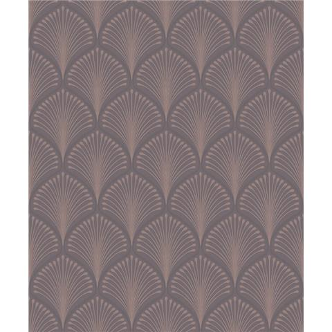 GrandecoLife Layla Art deco Wallpaper GV3102 charcoal/rose