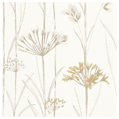 Harlequin Poetica Wallpaper-Gardinum 110554 Colour:-Ivory and Gold