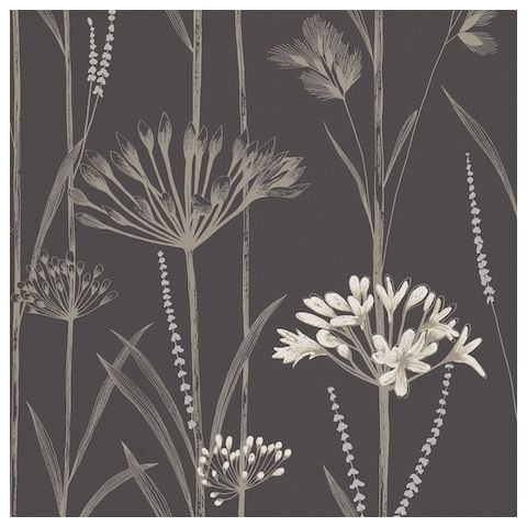 Harlequin Poetica Wallpaper-Gardinum 110556 Colour:- Charcoal, Flint and Gilver