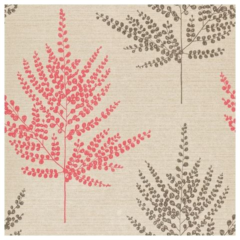 Harlequin Poetica Wallpaper-Folium 110592 Colour:-Coral, Gilver and Chocolate