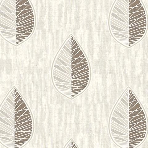 Crown Scandi Leaf Wallpaper M1254 Chocolate