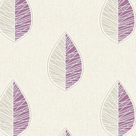 Crown Scandi Leaf Wallpaper M1257 Plum