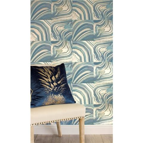 Crown Emporium Savoy Marble Wallpaper MO1466 Teal