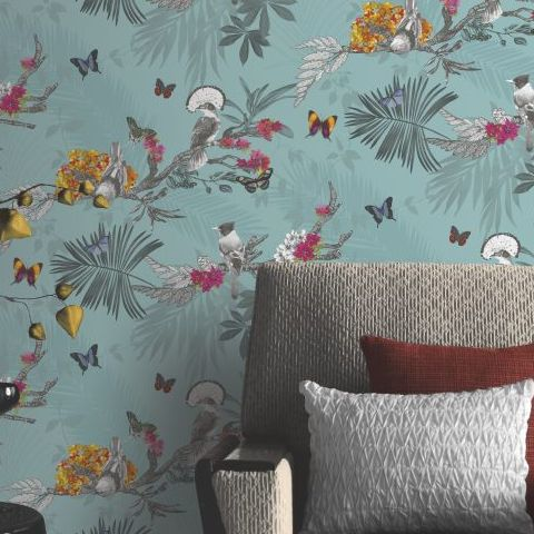 Arthouse Mystical Forest Wallpaper Teal