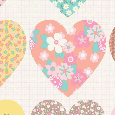 Imagine Fun Wallpaper-Patchwork Hearts 668500
