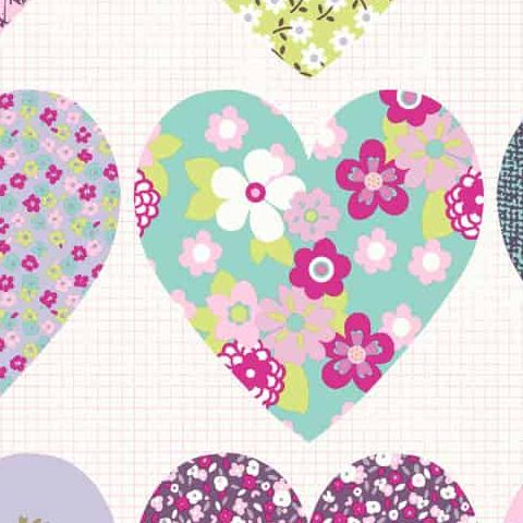 Imagine Fun Wallpaper-Patchwork Hearts 668501