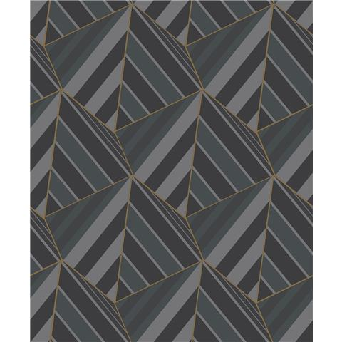 Grandeco Life Prism Geometric Wallpaper A38002 black