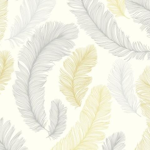 Grandeco Yasmine Feather Wallpaper RE2003 Yellow/Grey