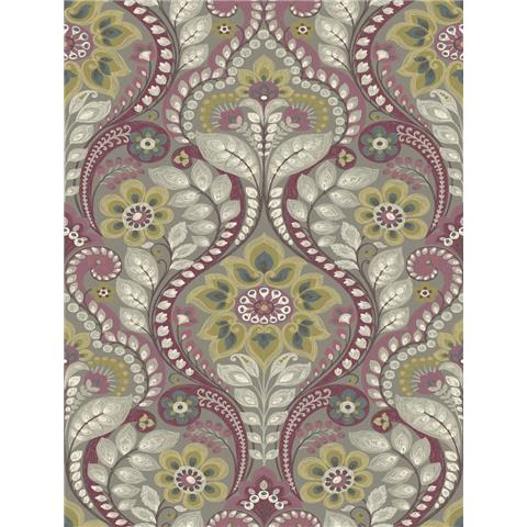A Street Prints moonlight Wallpaper Night Bloom Shabby Chic Damask SCH12103 Light Grey