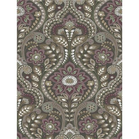 A Street Prints moonlight Wallpaper Night Bloom Shabby Chic Damask SCH12104 Dark Grey