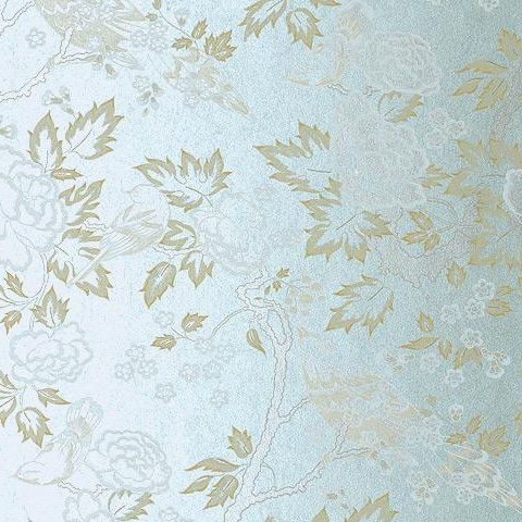 Anna French Wild Flora Songbirds Wallpaper-Cream on Blue