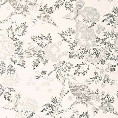 Anna French Wild Flora Songbirds Wallpaper-Grey Pencil on White