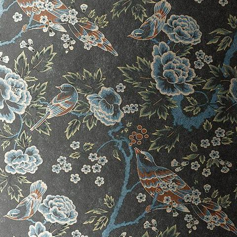 Anna French Wild Flora Songbirds Wallpaper-Silver/Black