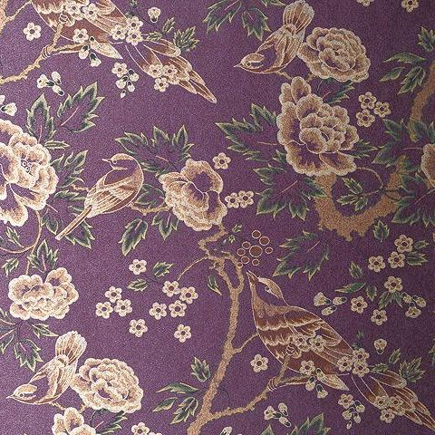Anna French Wild Flora Songbirds Wallpaper-Gold/Purple