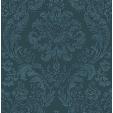 A STREET PRINTS moonlight WALLPAPER shadow Damask flock 2763-87310 blue