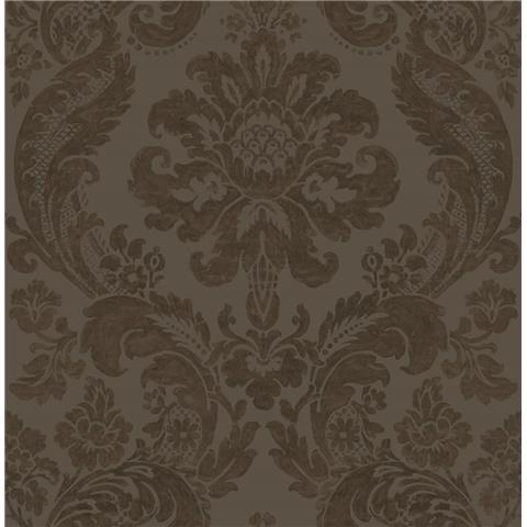 A STREET PRINTS moonlight WALLPAPER shadow Damask flock 2763-87311 brown
