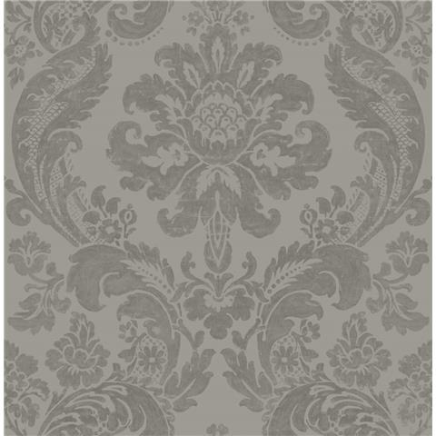 A STREET PRINTS moonlight WALLPAPER shadow Damask flock 2763-87313 grey